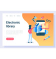 electronic library student with access to books vector image vector image