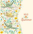 floral card design flowersleaf and birds doodle vector image vector image