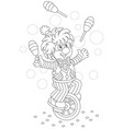 funny clown juggler and equilibrist vector image
