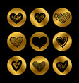 gold icons with hand drawn black hearts set vector image vector image