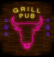 grill pub neon colorful sign vector image vector image
