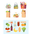 grocery bags shopping basket market bagged food vector image vector image