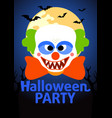 halloween party banner with clown vector image