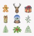 hand drawn colorful christmas icons bundle a vector image