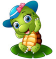 happy turtle with blue cap on the lotus leaf vector image vector image