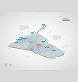 isometric namibia map with city names and vector image vector image