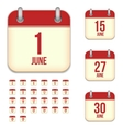 June tear-off calendar isolated icons set vector image vector image