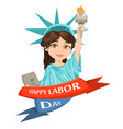 labor day greeting card with girl dressed in a vector image
