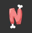 letter n meat font pork and bone alphabet sign vector image vector image