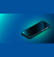 modern smartphone on dark blue background vector image vector image