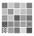 Monochrome geometric seamless patterns vector image