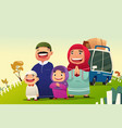 muslim family going home to celebrate eid al fitri vector image vector image