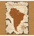 old parchament Map of South America vector image