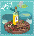 peanut oil used for frying food vector image vector image