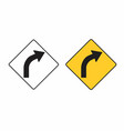 right turn road sign vector image vector image