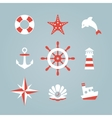 Sea icon collection isolated on a blue background vector image vector image