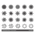 set coronavirus icons linear and silhouette vector image