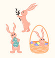 set cute cartoon easter bunnies vector image