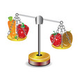 set of fruits and vegetables on scales vector image