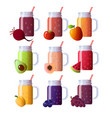 set of smoothies in different cups superfoods and vector image
