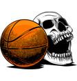 skull basketball ball is head skeleton emblem vector image