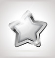 star shaped bright glossy silver badge icon vector image