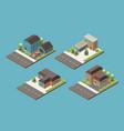 suburban buildings isometric set vector image vector image