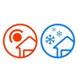 sun and snowflake icon set vector image