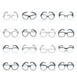 Sunglasses glasses black icons set vector image