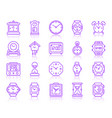watch simple color line icons set vector image vector image