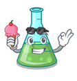 with ice cream science beaker character cartoon vector image vector image