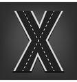 X letter Road font vector image vector image