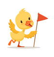 yellow cartoon duckling holding red flag cute vector image vector image