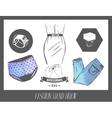 Fashion hand drawn sketch set of labels vector image