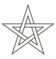 pentagram five end star with weave sides vector image