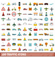 100 traffic icons set flat style vector image vector image