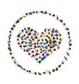 a group of people in a shape of heart icon in a vector image vector image
