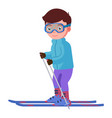 a smiling boy skiing vector image vector image