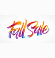 autumn season hand lettering fall sale modern vector image