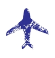 Blue and white grunge print plane icon vector image