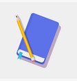 bookmark in blue diary and pencil color icons vector image