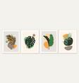 botanical and abstract shapes wall art design vector image vector image