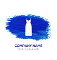 bride dress icon - blue watercolor background vector image