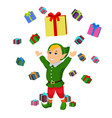 cartoon christmas elf falling boxes gifts vector image vector image