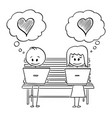 cartoon couple man and woman sitting on vector image