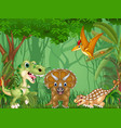 cartoon happy dinosaurs in the jungle vector image vector image
