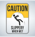caution wet floor sign yellow sign with falling vector image vector image