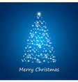Christmas tree from stars on blue background vector image vector image