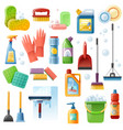 cleaning supplies tools flat icons set vector image vector image