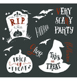Collection of Halloween symbols with hand vector image vector image